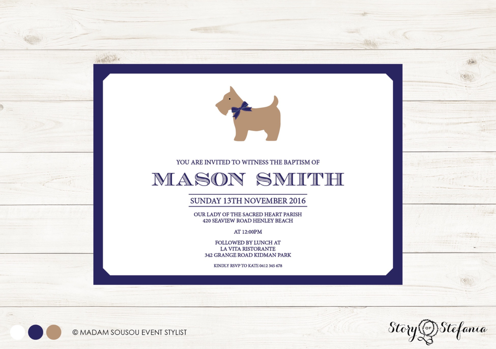 Image of Chic Dog Christening Invitation