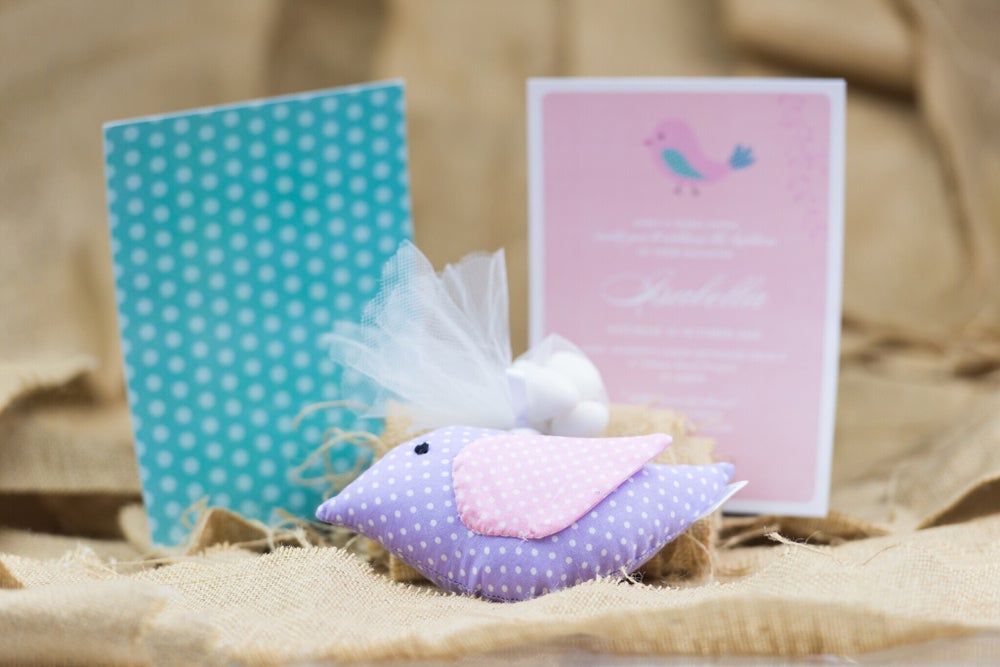 Image of Pastel Bird Christening Invitation