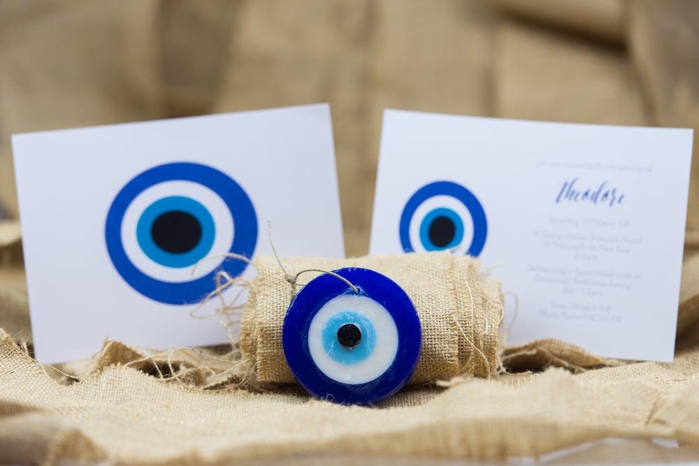 Image of Mati (evil eye) Christening Invitation (white background)