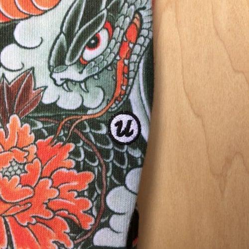 "Image of 3TIDES x UBIQ ""IREZUMI"" SOCKS【Hevi & Botan】"