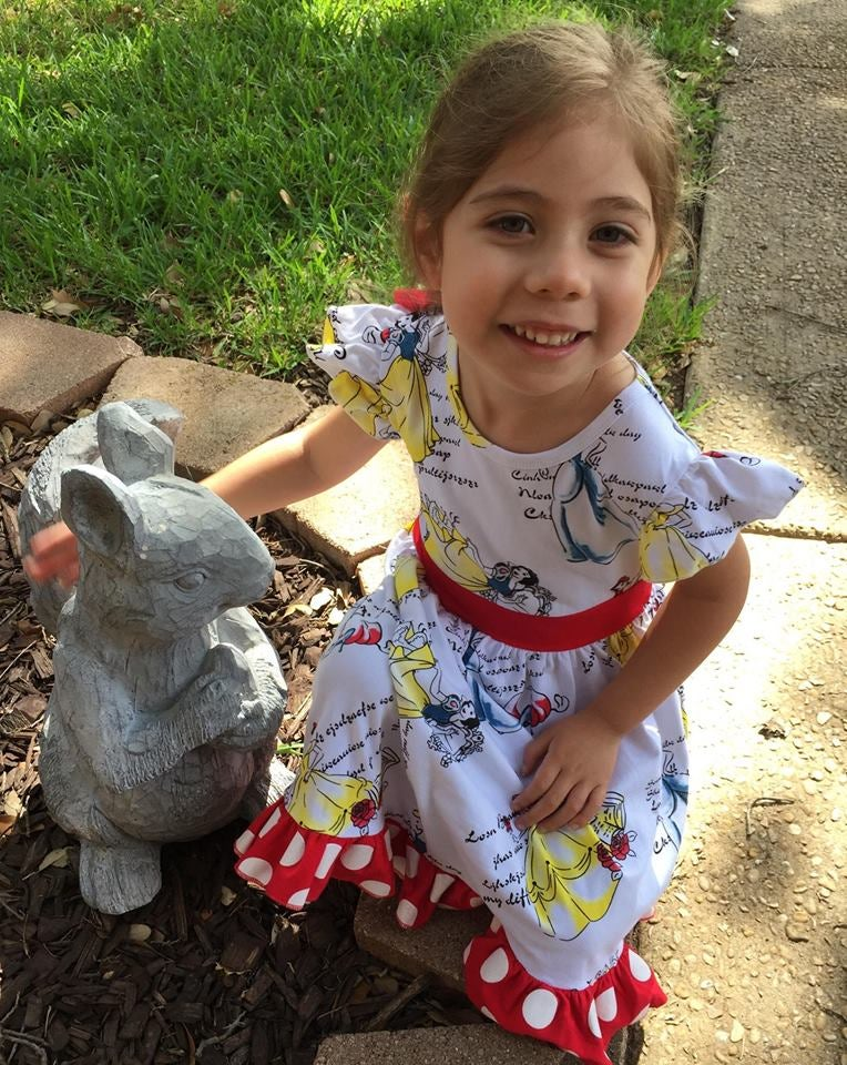 Image of Princess inspired dress featuring Snow White, Belle and Cinderella, baby, toddler, girl, summer