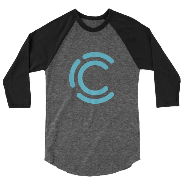 Image of Curiosity in Focus Poly-Cotton 3/4 sleeve Raglan Tee (Heather Black/Black)