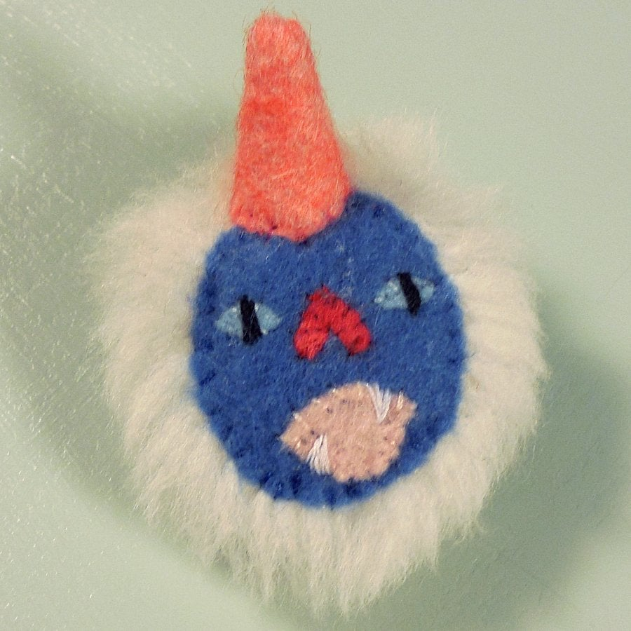 Image of Unicorn monster pin - white, periwinkle blue, coral