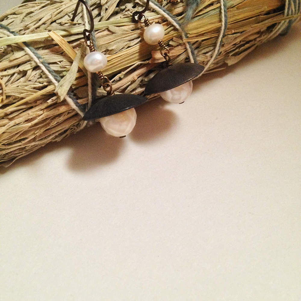 Image of Six of Cups White Freshwater Faceted Pearl Oxidized Brass Niobium Earrings | Handmade Nickel Free