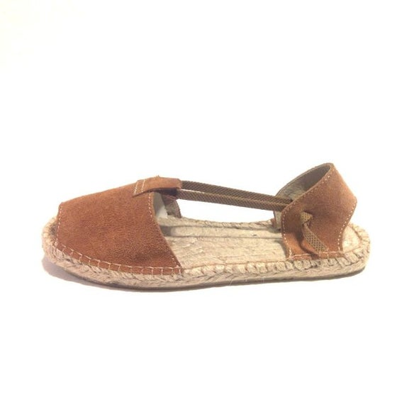 Image of Flat Albarca Espadrille - A4N - Natural Nobuk & Jute - with elastics - EU sizes 35 to 41