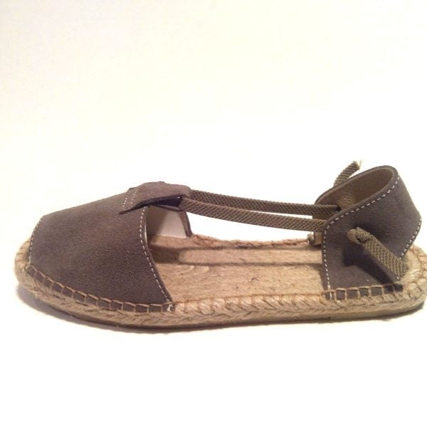 Image of Flat Albarca Espadrilles - A4N - Sand Nobuk & Jute - with elastics - EU sizes 35 to 41