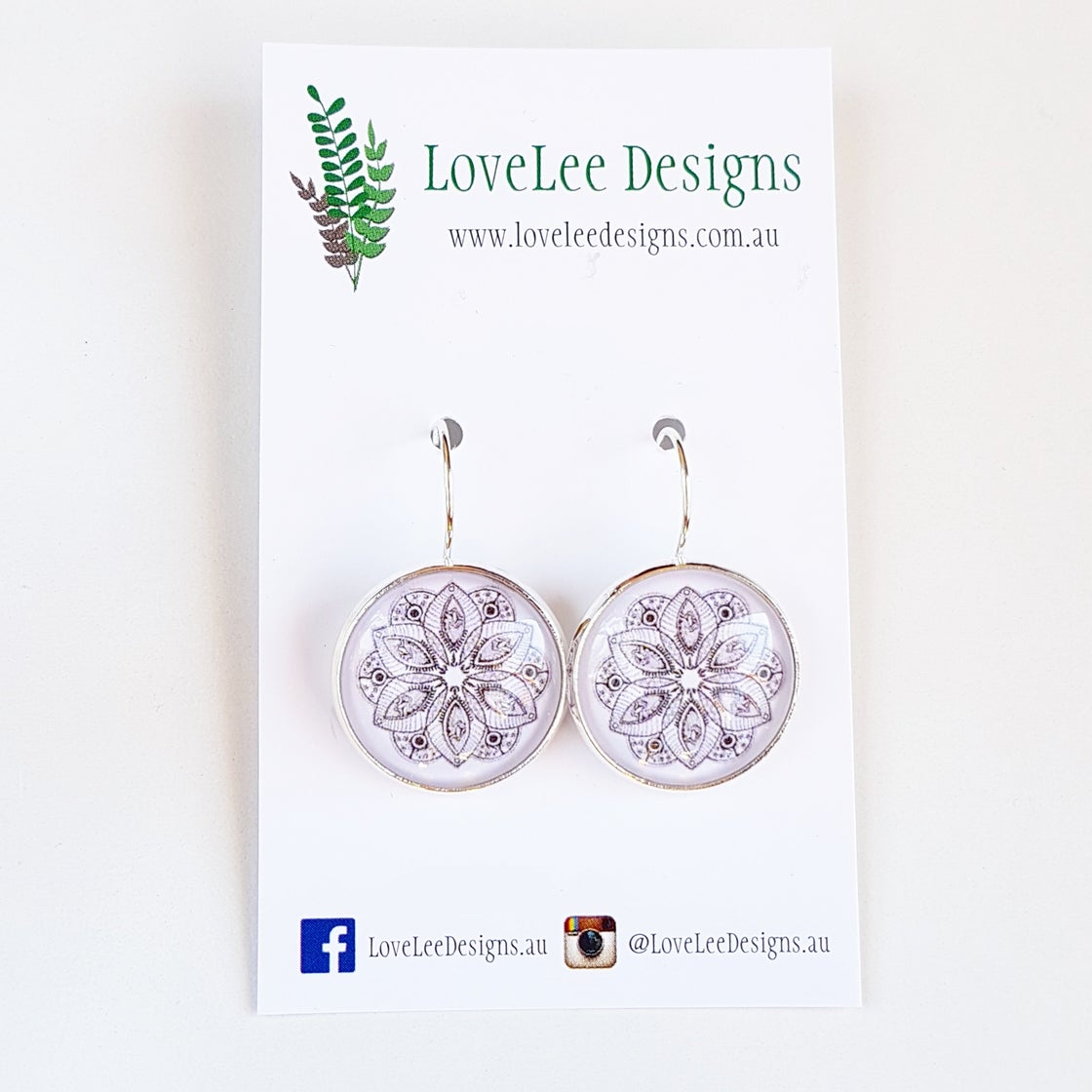Image of Earrings - Black & White Mandala