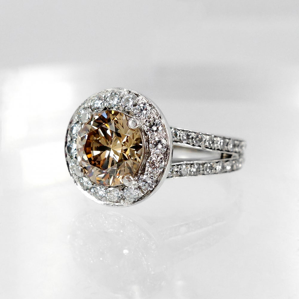 Image of Cognac Diamond Halo Engagement Ring