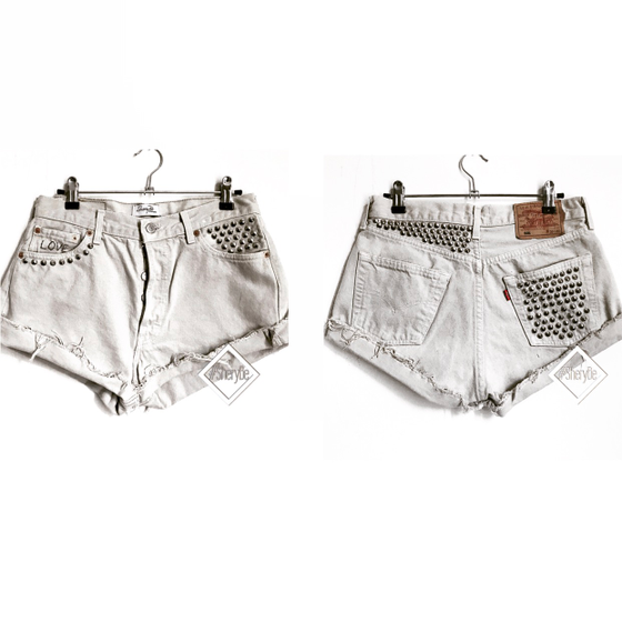 Image of LOVE • studded cutoff VINTAGE LEVI'S 501 shorts