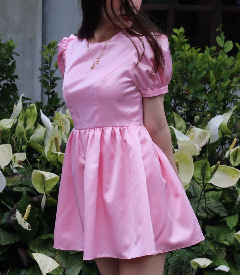 Image of Made to order - Mia Dress in Pink Satin