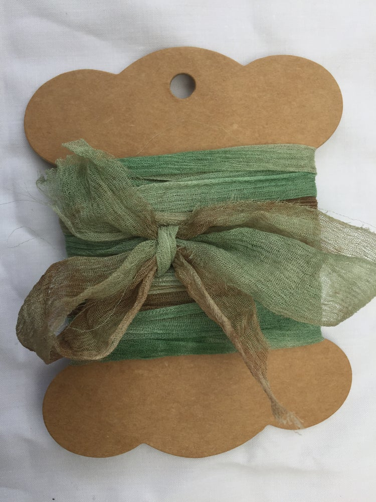 Image of Naturally Dyed and Variegated Rag Silk chiffon Ribbon