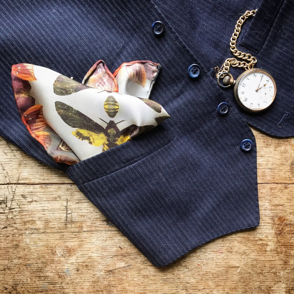 Image of MUSEUM MOTHS...100% SILK POCKET SQUARE WITH HAND ROLLED EDGES