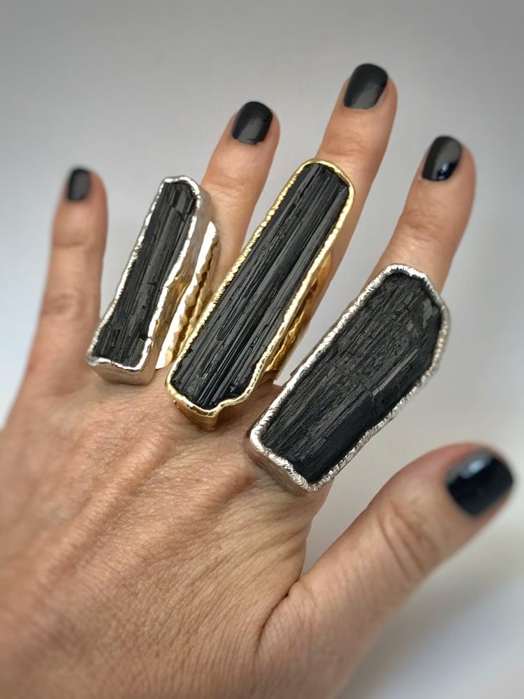 Image of Black Velvet Tourmaline Ring in Silver
