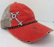 Image of Acid Washed Brushed Cotton Trucker Crystal Cross