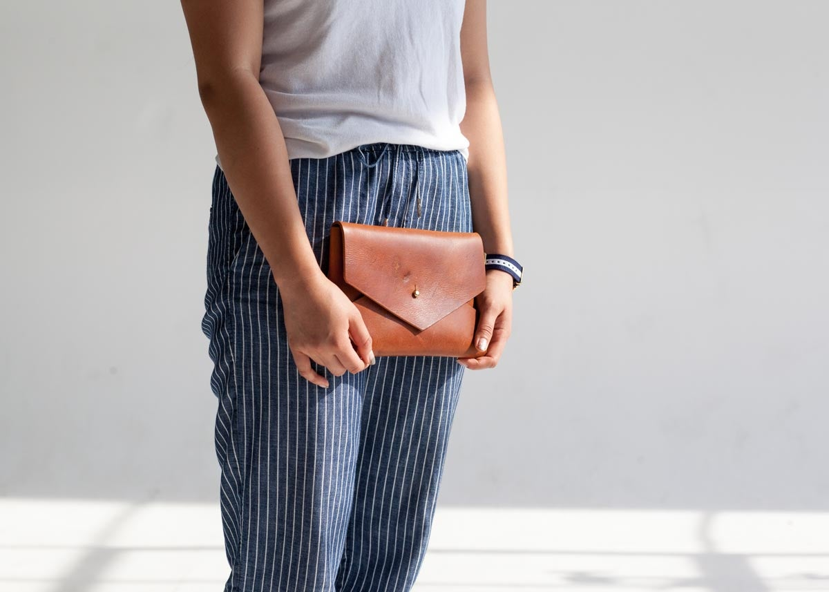Image of Cognac Envelope Clutch