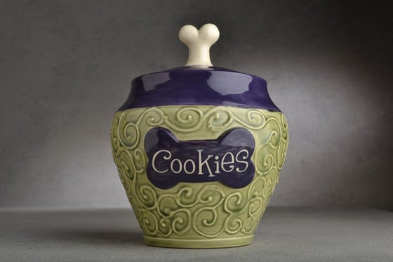 "Image of Dog Treat Jar Green and Purple ""Biscuits"""