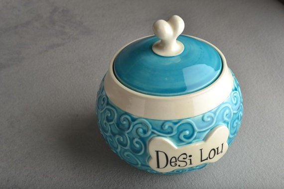 Image of Dog Treat Jar Made To Order Curls Blue Pet Treat Jar by Symmetrical Pottery