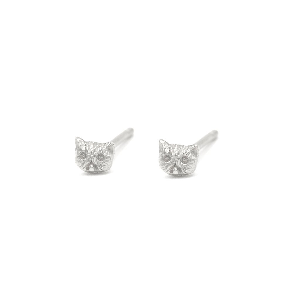 Image of Itty Bitty Kitty Studs- Silver