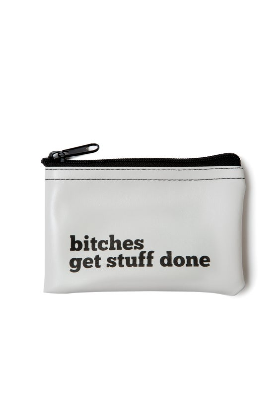 Image of Bitches Get Stuff Done vinyl zip pouch