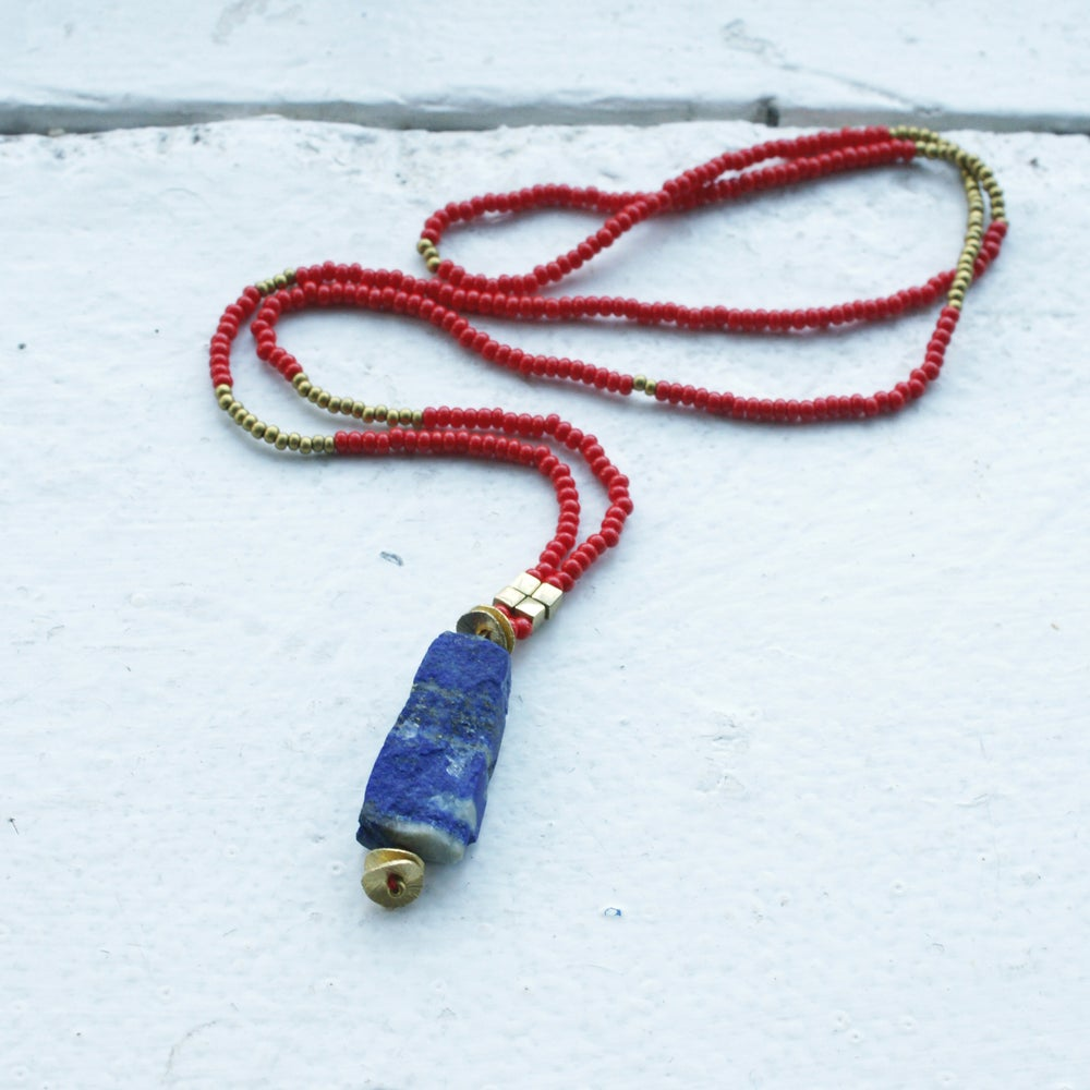 Image of Lapis Pendant necklace  - red