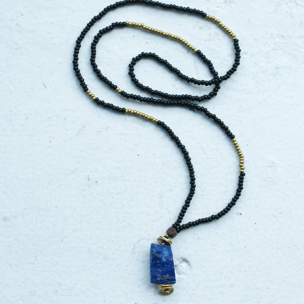 Image of Lapis pendant necklace - black