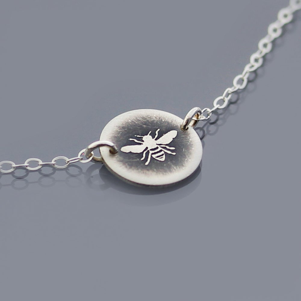 Image of Tiny Silver Honey Bee Necklace