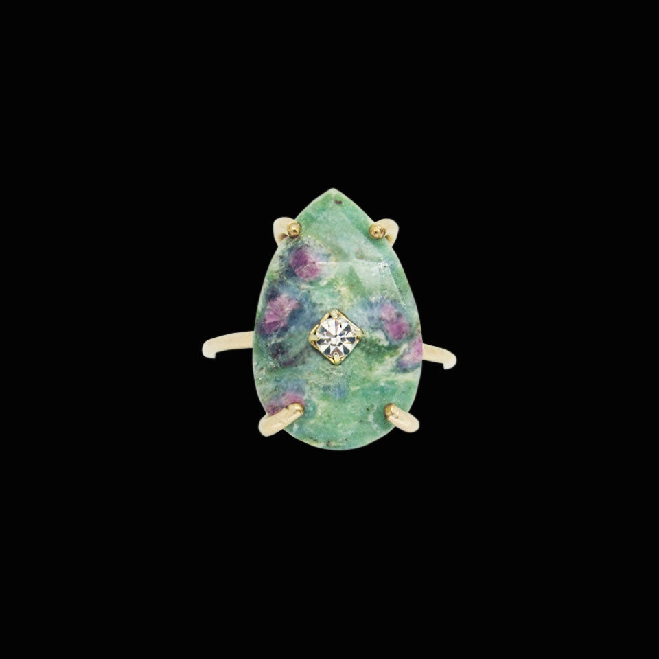 Image of Ruby in Fuchsite Drop Ring