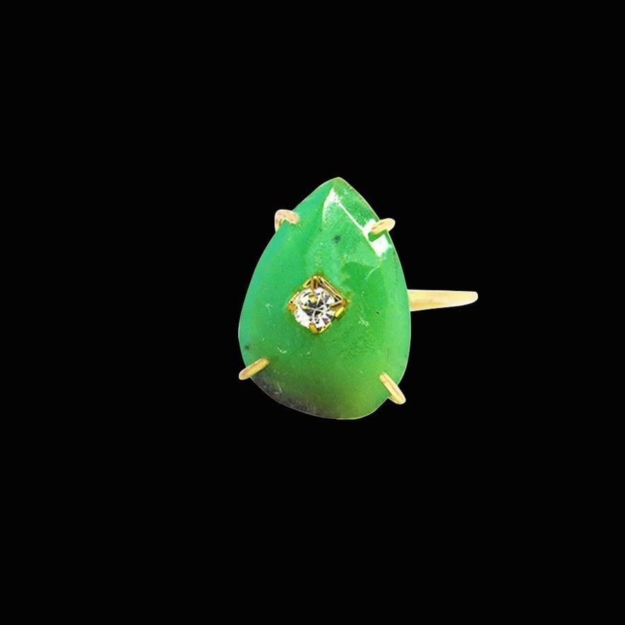Image of Chrysoprase Drop Ring