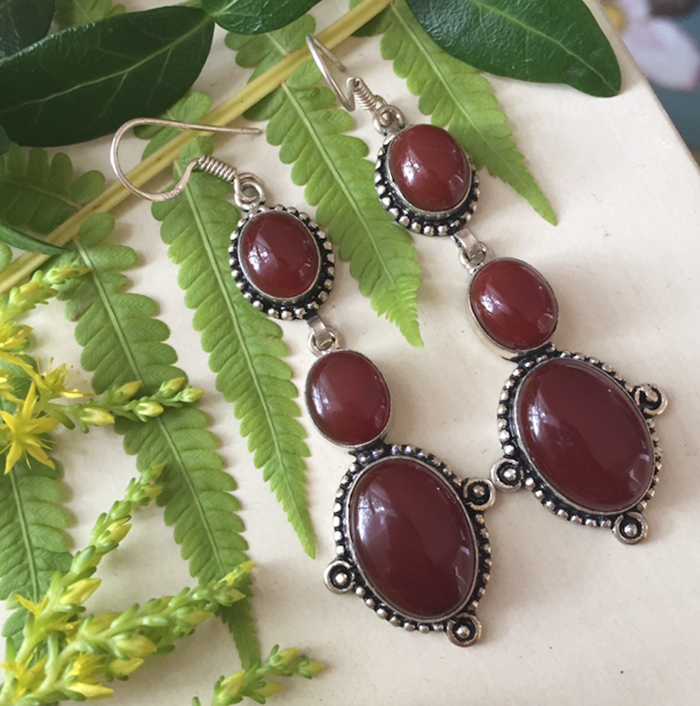 "Image of ""Warming Blossoms"" Carnelian Sterling Silver Earrings"