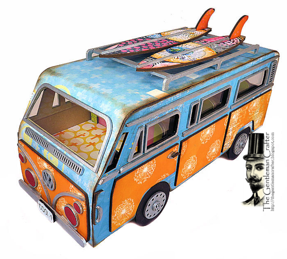 Image of The Groovy VW Van Kit with Paper and Instant Download Tutorial