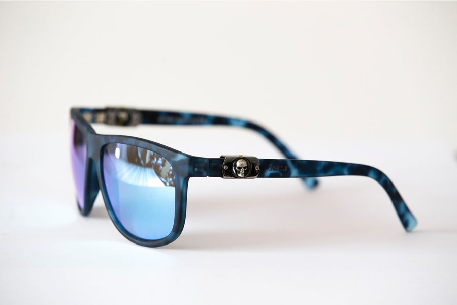 Image of MCJ SUNGLASSES BLUE TORTUGA BLUE LENS