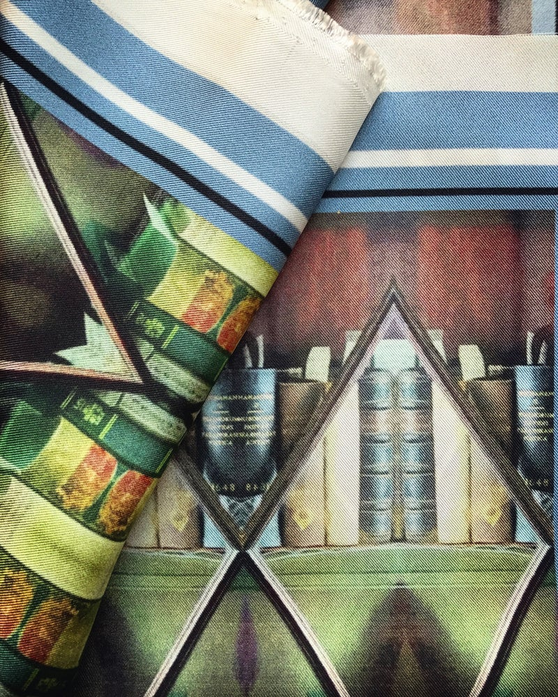 Image of * ON THEIR WAY * LONDON LIBRARY MINIATURES - 100% SILK TWILL POCKET SQUARE WITH HAND ROLLED EDGES