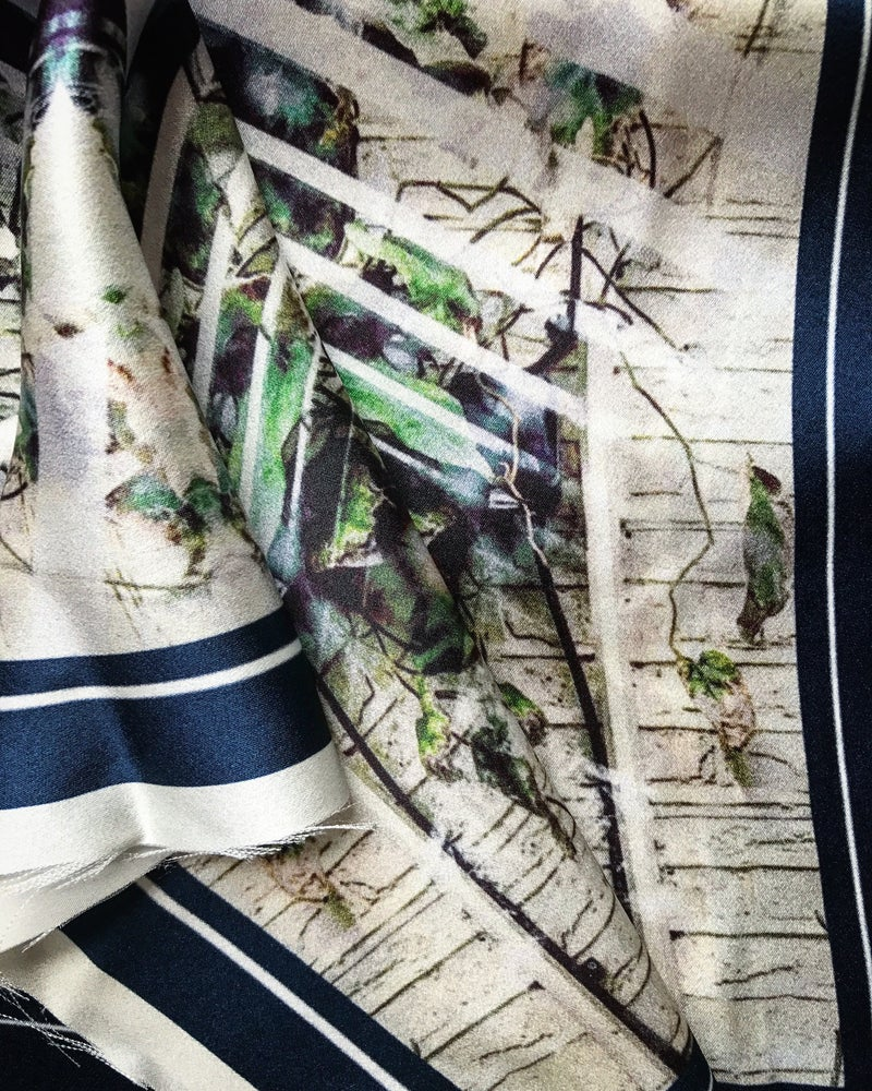 Image of CHELSEA PHYSIC GREENHOUSE - 100% SILK SATIN POCKET SQUARE WITH HAND ROLLED EDGES