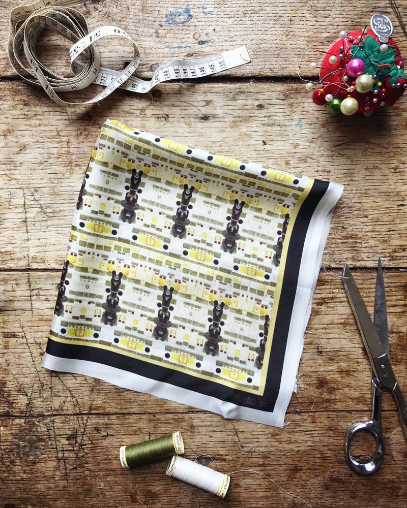 Image of MICROSCOPES - 100% SILK TWILL POCKET SQUARE WITH HAND ROLLED EDGES