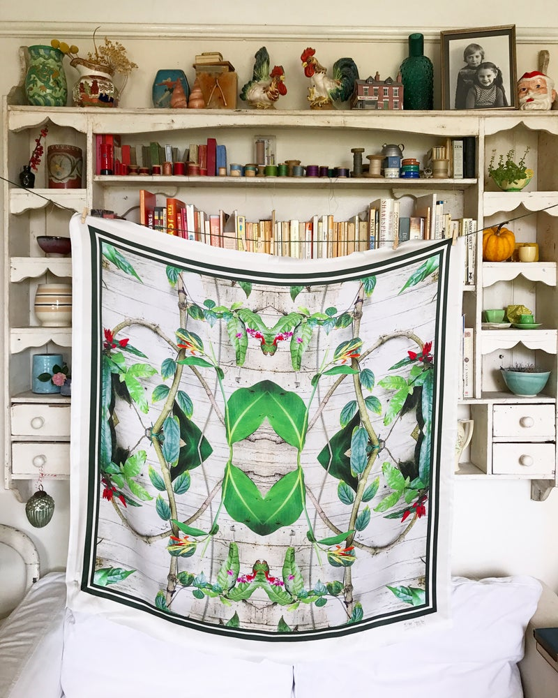 Image of TROPICAL CHELSEA PHYSIC - 100% SILK SATIN SCARF WITH HAND ROLLED EDGES