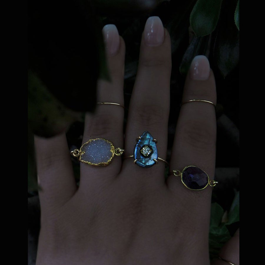 Image of Black Mother of Pearl Drop Ring