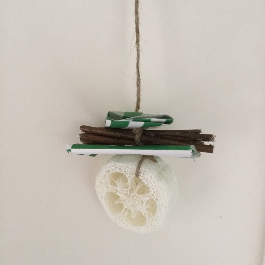 Image of Loofah, Branch and Paper Hanging Enrichment Toy
