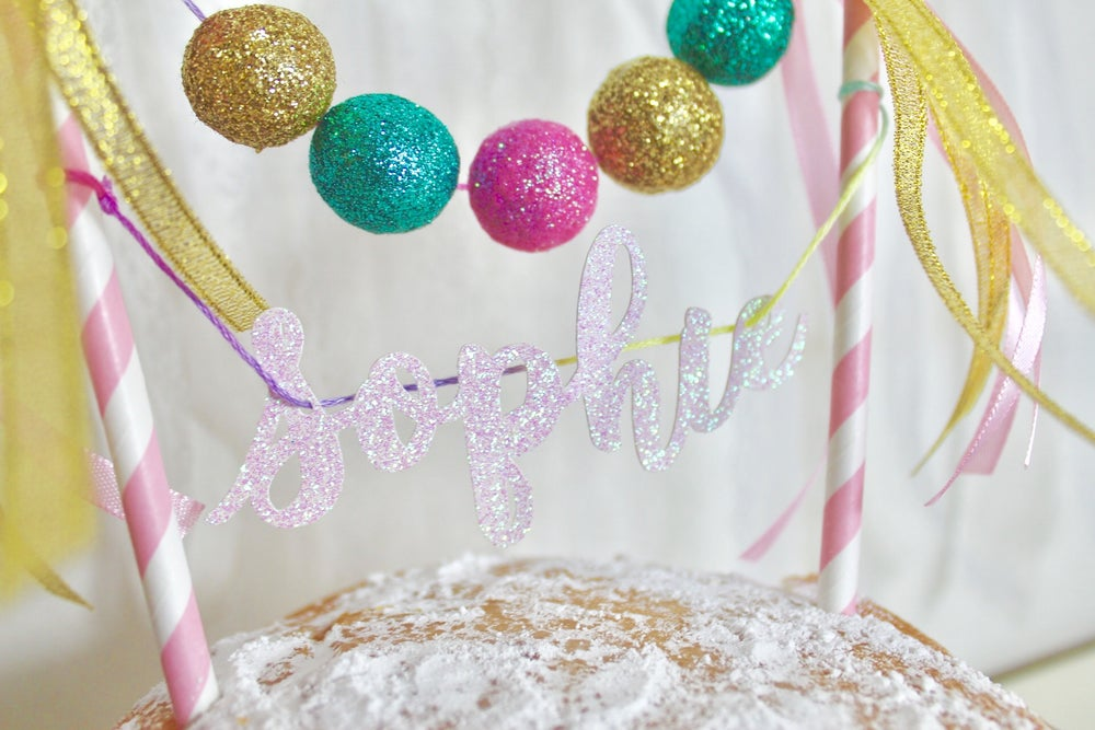 Image of Personalised glitter felt ball cake topper