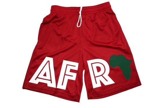 "Image of World Tour ""AFRICA"" Shorts Red"