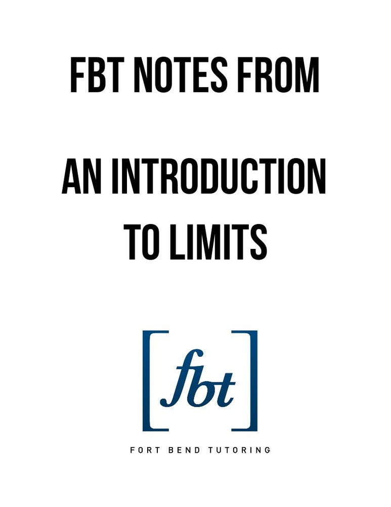 Image of Introduction to Limits FBT Video Notes