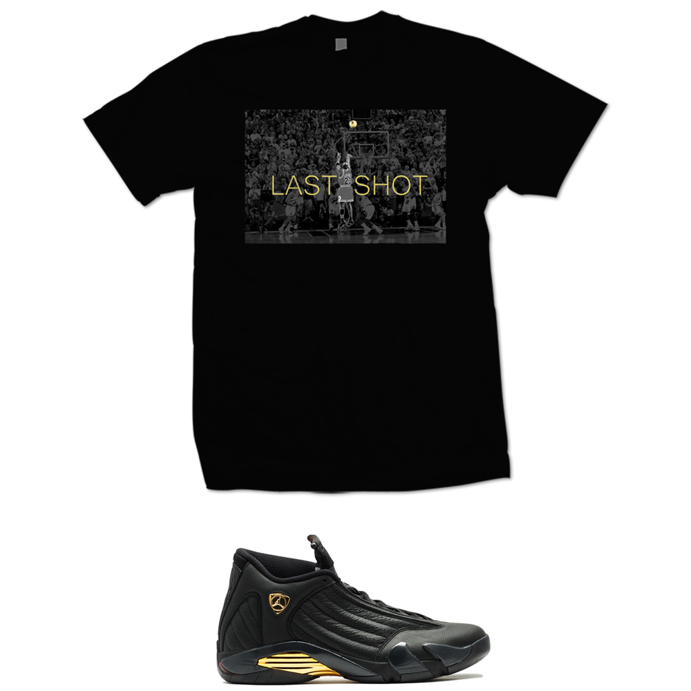 Image of LAST SHOT RETRO 14 DMP FINALS PACK T-SHIRT - BLACK