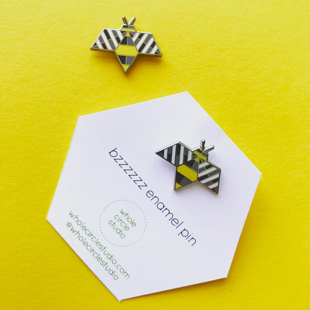 Image of Bzzzzzz Bee Hard Enamel Pin Badge by WholeCircleStudio