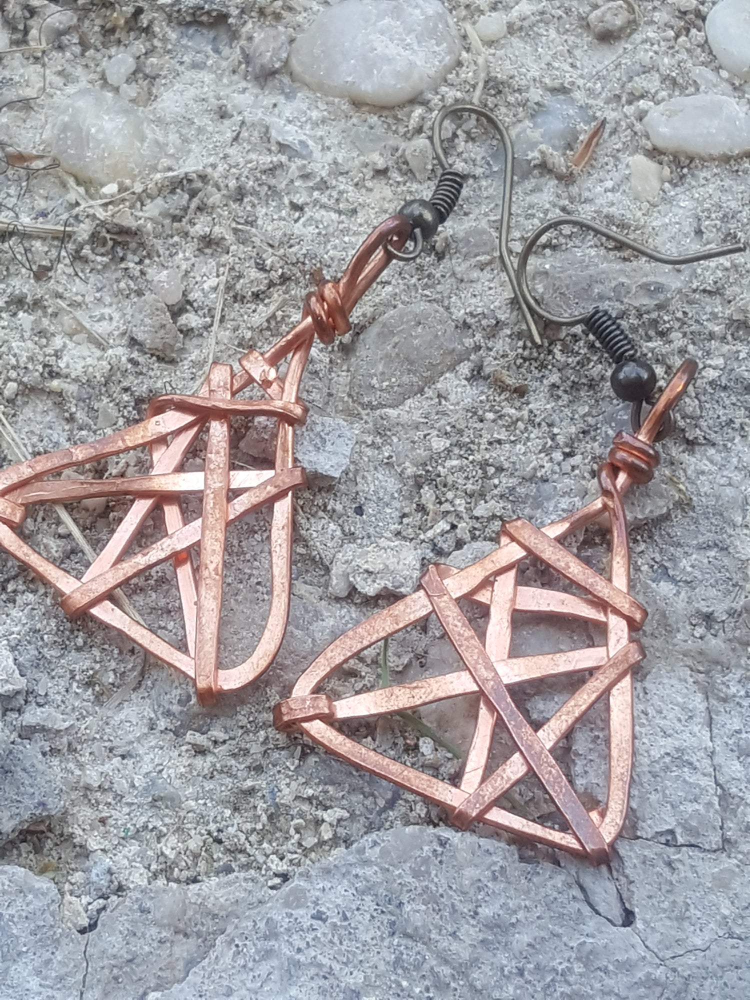 Image of Pyramid meets Dreamcatcher Earrings.