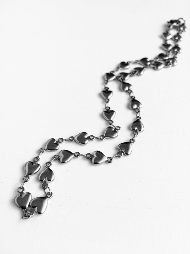 Image of HEART CHAIN CHOKER & NECKLACE  - GOLD & SILVER
