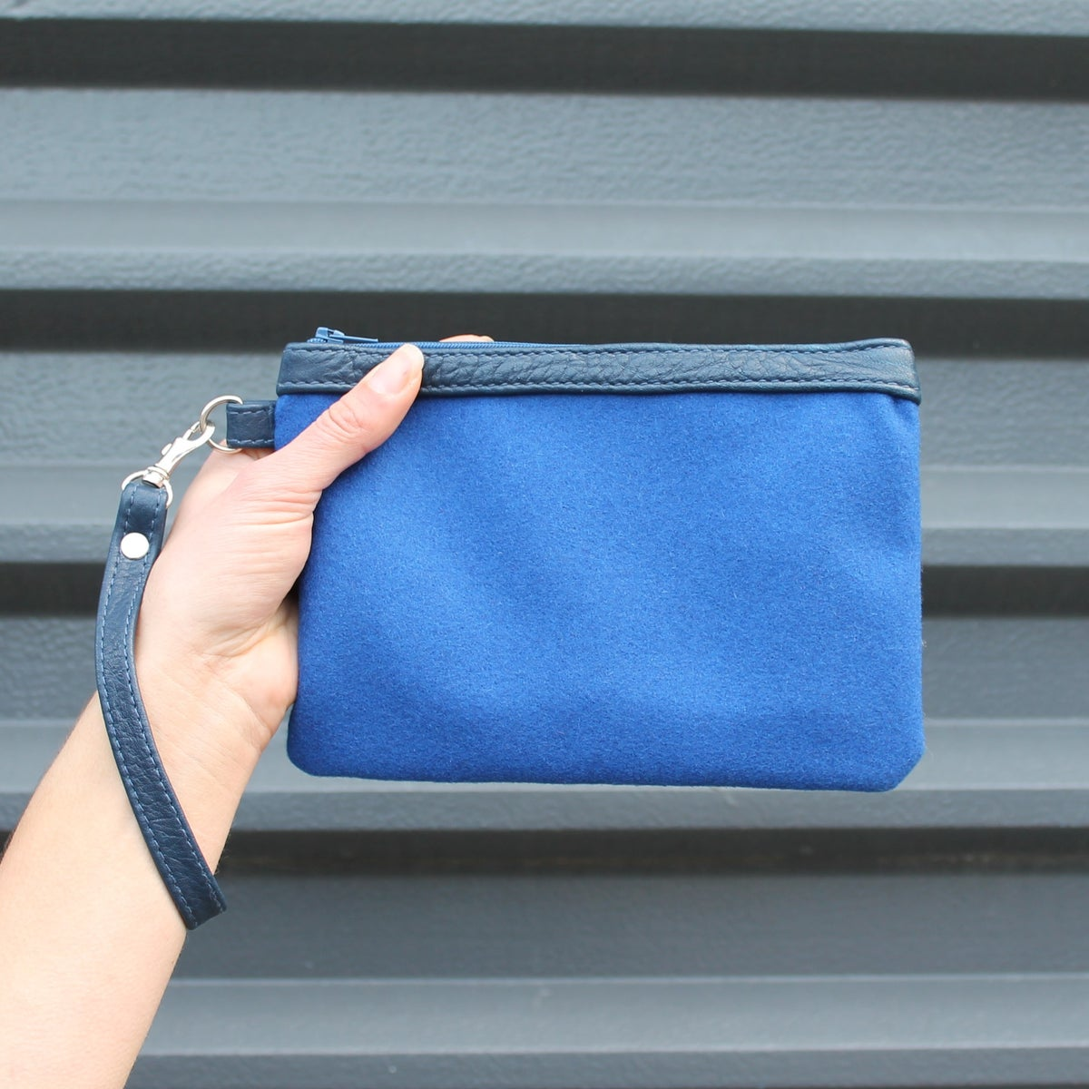 Image of Strapped Clutch - Cobalt