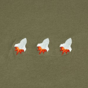 Image of Triple Rocket Embroidered Tee (Military Green)