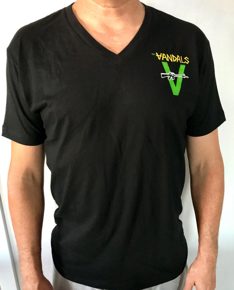 Image of V-Neck Vandals Gun Logo T-shirt
