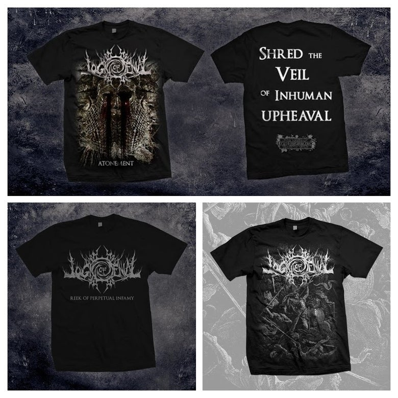 Image of ATONEMENT/REEK OF PERPETUAL INFAMY/HYMNS OF ACRIMONY - T-SHIRT