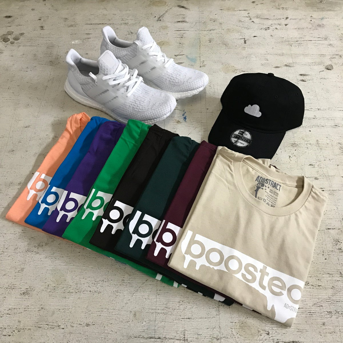 """Image of BOOSTED """"MAROON, DK GREEN, CHOCOLATE, KELLY GREEN, PURPLE, TURQUOISE & LIGHT ORANGE"""" T-SHIRT"""