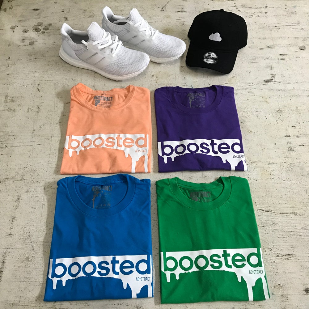 """BOOSTED """"MAROON, DK GREEN, CHOCOLATE, KELLY GREEN, PURPLE, TURQUOISE & LIGHT ORANGE"""" T-SHIRT"""